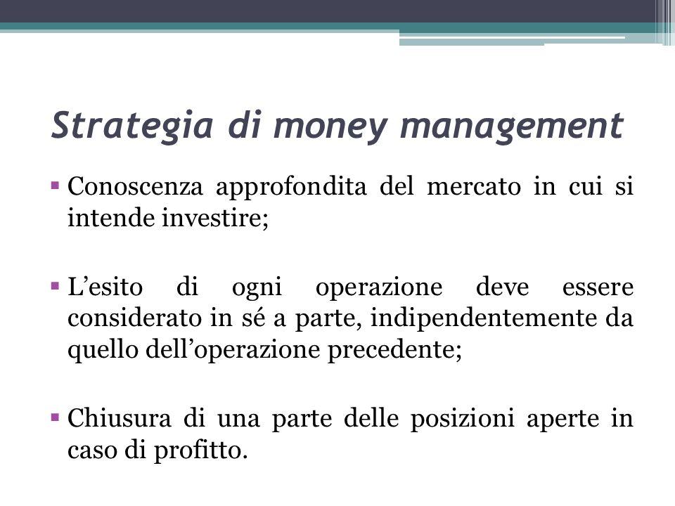 Strategia di money management Conoscenza approfondita del mercato in cui si intende investire; Lesito di ogni operazione deve essere considerato in sé a parte, indipendentemente da quello delloperazione precedente; Chiusura di una parte delle posizioni aperte in caso di profitto.