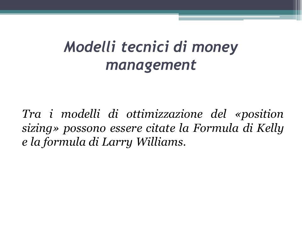 Modelli tecnici di money management Tra i modelli di ottimizzazione del «position sizing» possono essere citate la Formula di Kelly e la formula di Larry Williams.