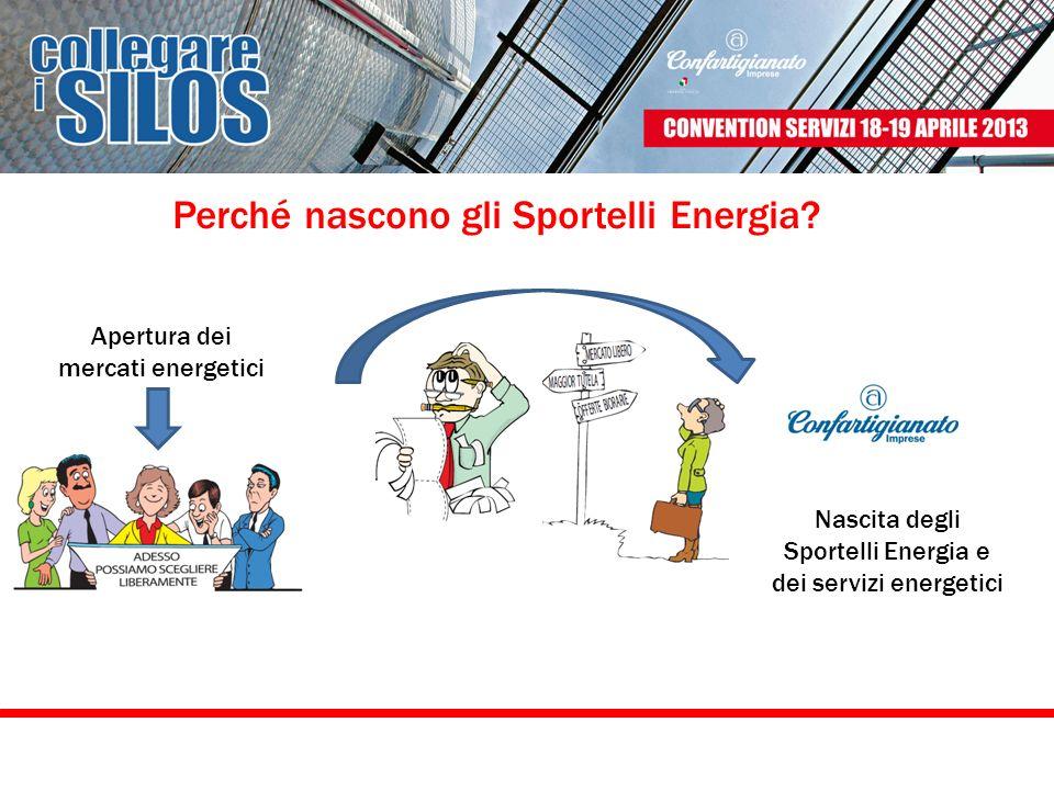 I servizi energetici ad oggi si possono considerare come servizi maturi I primi sportelli sono nati nel 2000 Il 30% delle sedi territoriali affrontata la partita energetica mediante uno Sportello Energia.