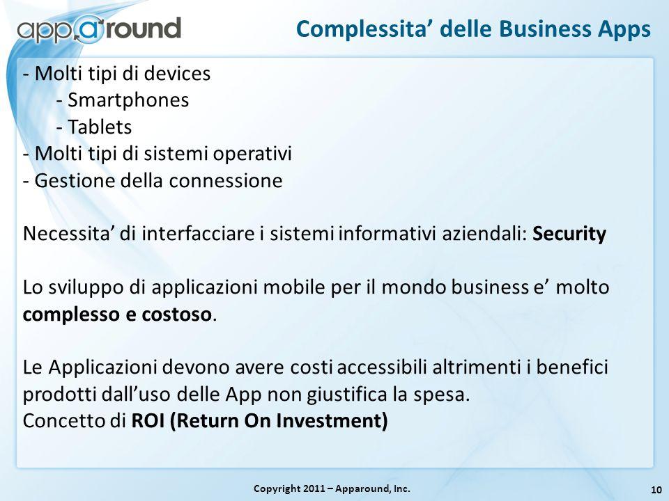 10 Complessita delle Business Apps Copyright 2011 – Apparound, Inc. - Molti tipi di devices - Smartphones - Tablets - Molti tipi di sistemi operativi