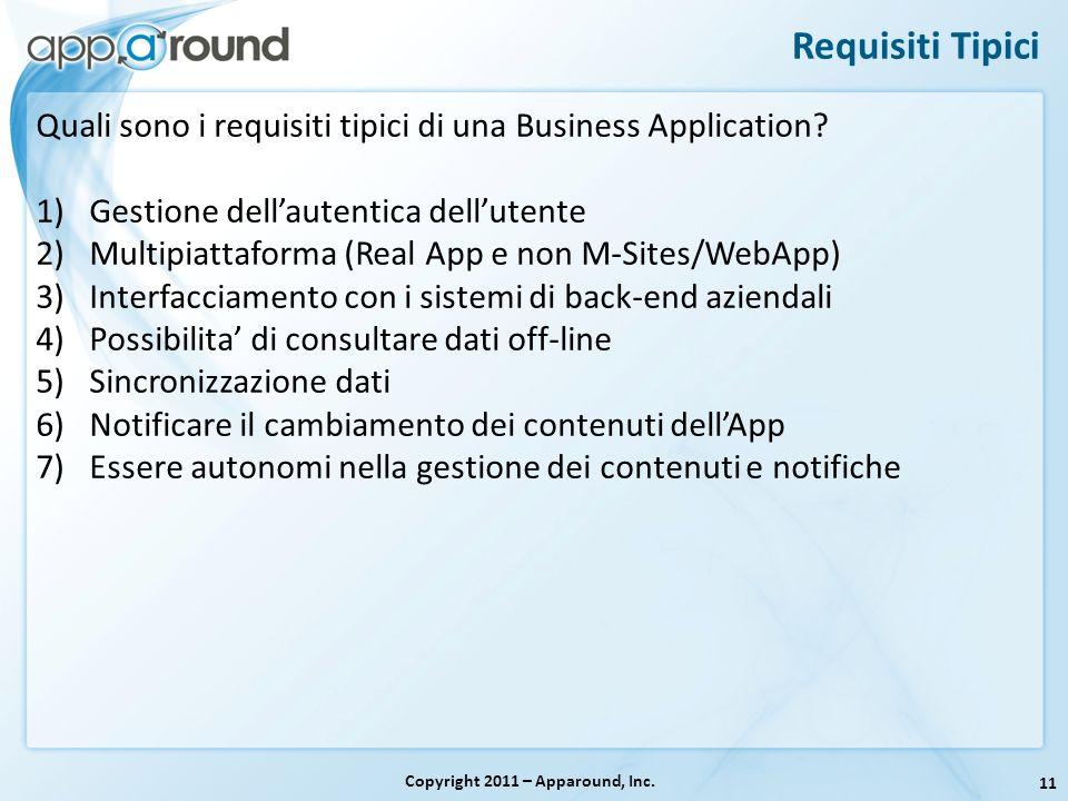 11 Requisiti Tipici Copyright 2011 – Apparound, Inc. Quali sono i requisiti tipici di una Business Application? 1)Gestione dellautentica dellutente 2)