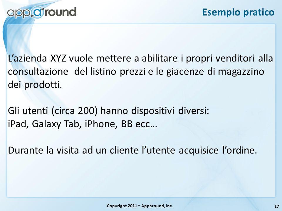 17 Esempio pratico Copyright 2011 – Apparound, Inc. Lazienda XYZ vuole mettere a abilitare i propri venditori alla consultazione del listino prezzi e