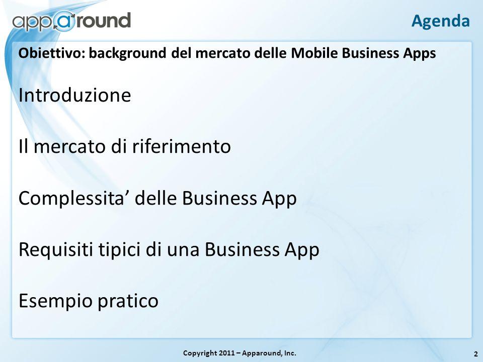 2 Agenda Copyright 2011 – Apparound, Inc. Obiettivo: background del mercato delle Mobile Business Apps Introduzione Il mercato di riferimento Compless