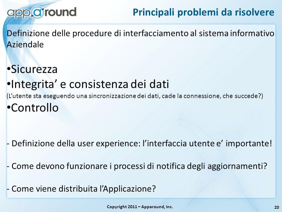 20 Principali problemi da risolvere Copyright 2011 – Apparound, Inc. Definizione delle procedure di interfacciamento al sistema informativo Aziendale
