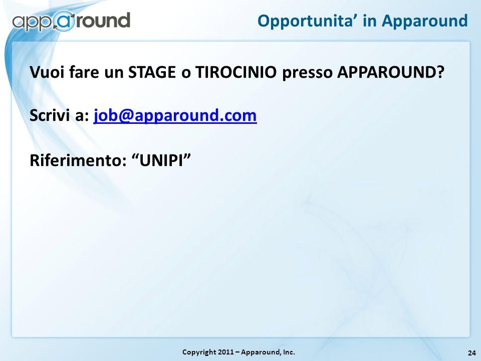 24 Opportunita in Apparound Copyright 2011 – Apparound, Inc. Vuoi fare un STAGE o TIROCINIO presso APPAROUND? Scrivi a: job@apparound.comjob@apparound