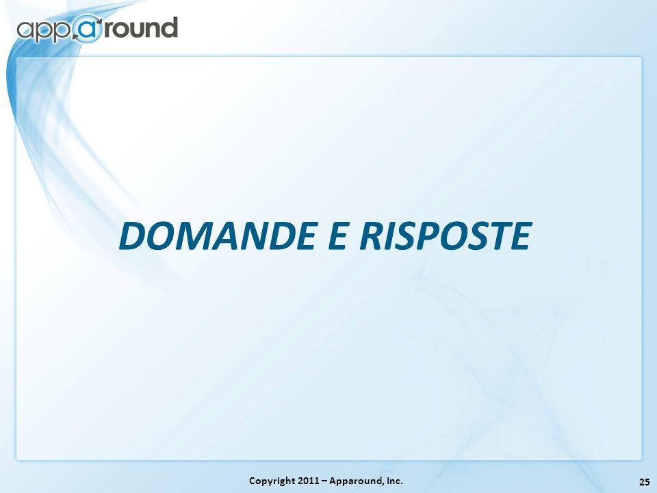 25 Copyright 2011 – Apparound, Inc. DOMANDE E RISPOSTE