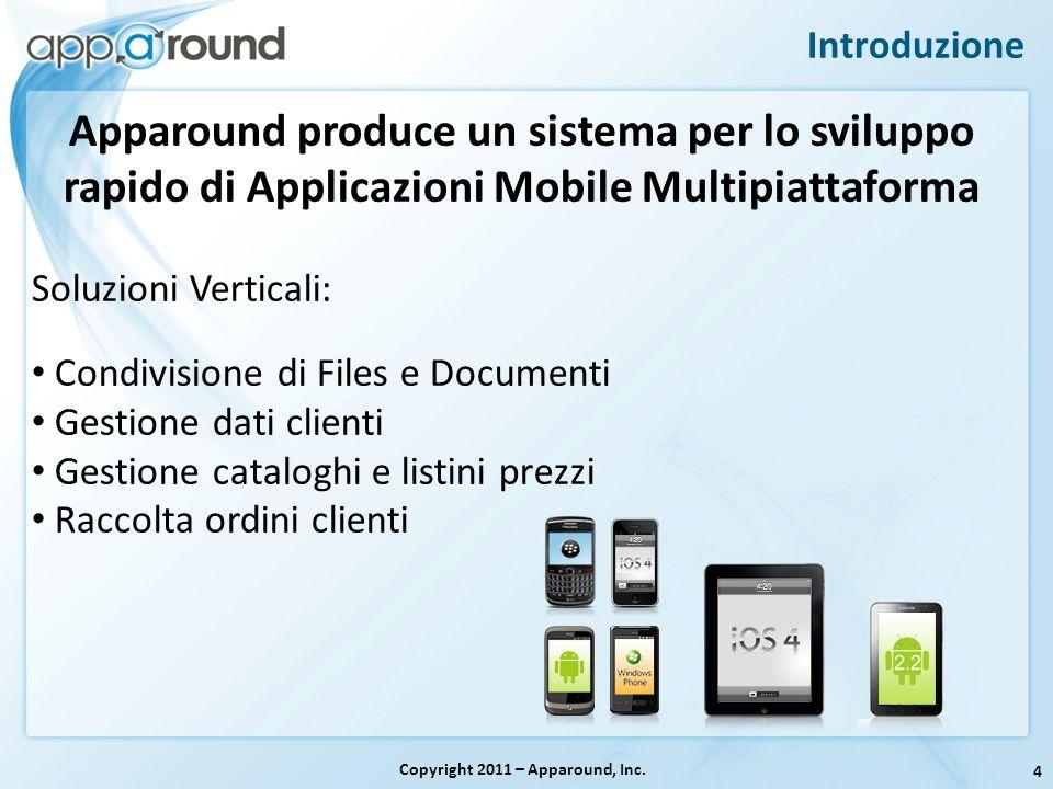 4 Introduzione Copyright 2011 – Apparound, Inc. Apparound produce un sistema per lo sviluppo rapido di Applicazioni Mobile Multipiattaforma Soluzioni