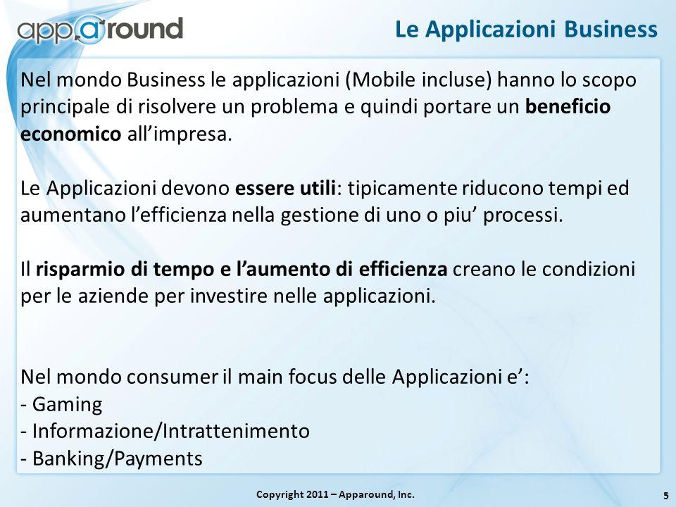 5 Le Applicazioni Business Copyright 2011 – Apparound, Inc. Nel mondo Business le applicazioni (Mobile incluse) hanno lo scopo principale di risolvere