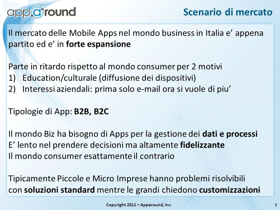 7 Scenario di mercato Copyright 2011 – Apparound, Inc. Il mercato delle Mobile Apps nel mondo business in Italia e appena partito ed e in forte espans