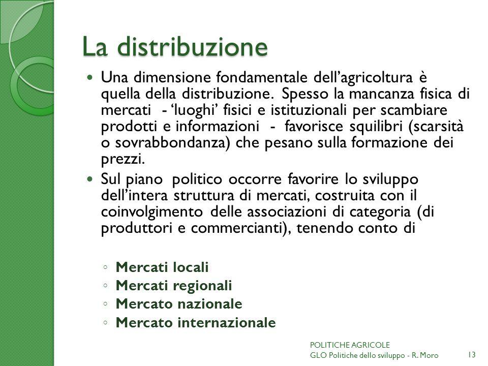 La distribuzione Una dimensione fondamentale dellagricoltura è quella della distribuzione. Spesso la mancanza fisica di mercati - luoghi fisici e isti