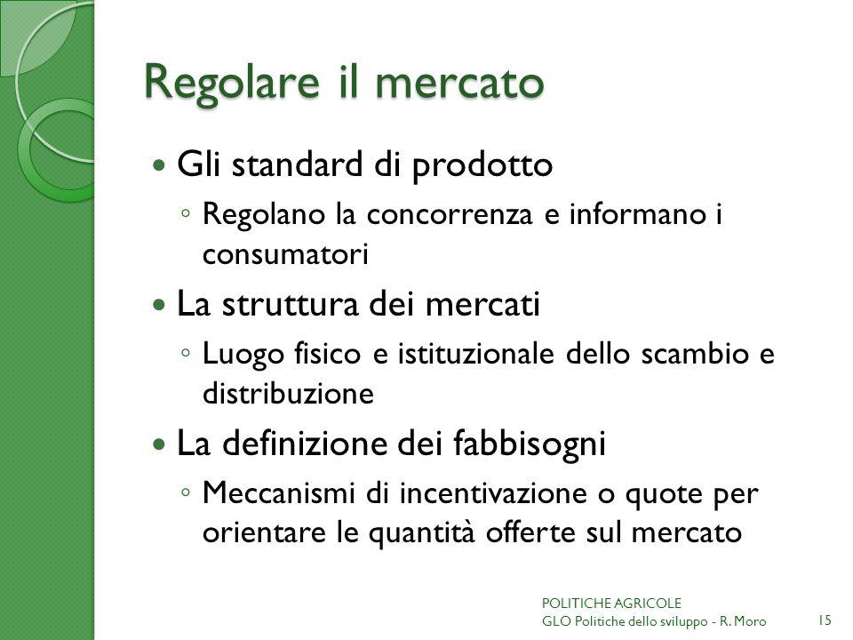 Regolare il mercato Gli standard di prodotto Regolano la concorrenza e informano i consumatori La struttura dei mercati Luogo fisico e istituzionale d