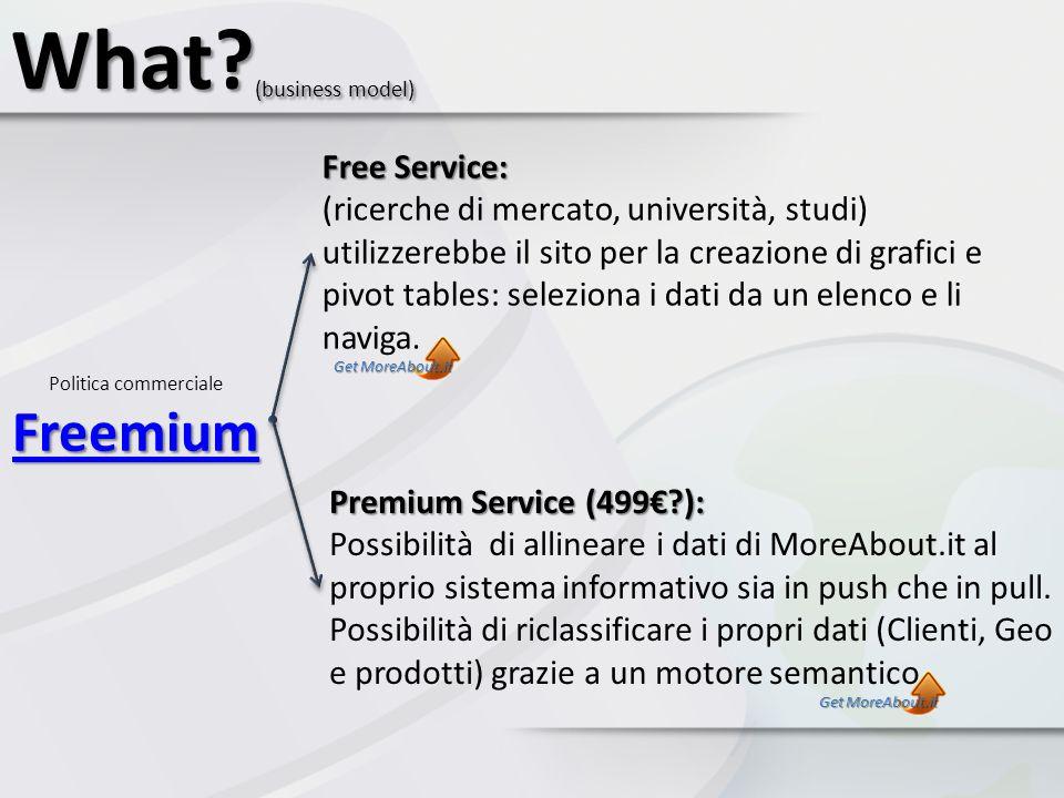 Freemium Freemium Politica commerciale Freemium Freemium What? (business model) Free Service: Free Service: (ricerche di mercato, università, studi) u