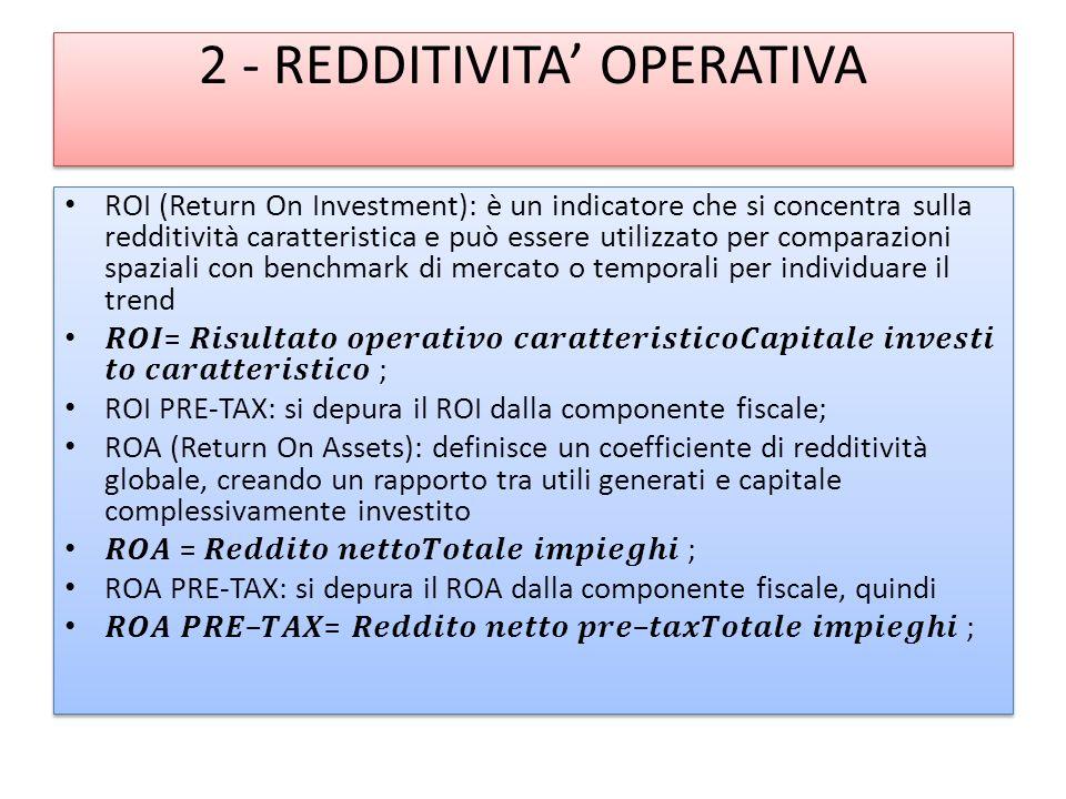 2 - REDDITIVITA OPERATIVA ROI (Return On Investment): è un indicatore che si concentra sulla redditività caratteristica e può essere utilizzato per comparazioni spaziali con benchmark di mercato o temporali per individuare il trend = ; ROI PRE-TAX: si depura il ROI dalla componente fiscale; ROA (Return On Assets): definisce un coefficiente di redditività globale, creando un rapporto tra utili generati e capitale complessivamente investito = ; ROA PRE-TAX: si depura il ROA dalla componente fiscale, quindi = ; ROI (Return On Investment): è un indicatore che si concentra sulla redditività caratteristica e può essere utilizzato per comparazioni spaziali con benchmark di mercato o temporali per individuare il trend = ; ROI PRE-TAX: si depura il ROI dalla componente fiscale; ROA (Return On Assets): definisce un coefficiente di redditività globale, creando un rapporto tra utili generati e capitale complessivamente investito = ; ROA PRE-TAX: si depura il ROA dalla componente fiscale, quindi = ;