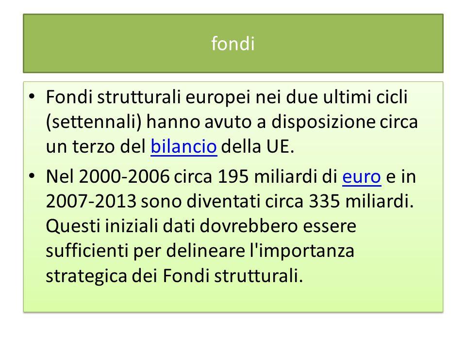 fondi Fondi strutturali europei nei due ultimi cicli (settennali) hanno avuto a disposizione circa un terzo del bilancio della UE.bilancio Nel 2000-20
