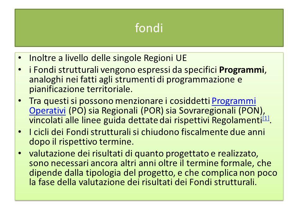 fondi Inoltre a livello delle singole Regioni UE i Fondi strutturali vengono espressi da specifici Programmi, analoghi nei fatti agli strumenti di programmazione e pianificazione territoriale.