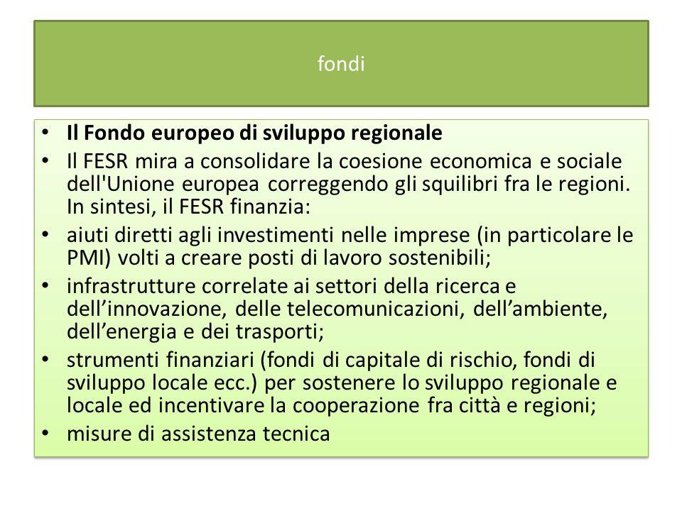 fondi Il Fondo europeo di sviluppo regionale Il FESR mira a consolidare la coesione economica e sociale dell Unione europea correggendo gli squilibri fra le regioni.
