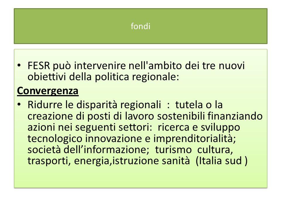fondi FESR può intervenire nell'ambito dei tre nuovi obiettivi della politica regionale: Convergenza Ridurre le disparità regionali : tutela o la crea