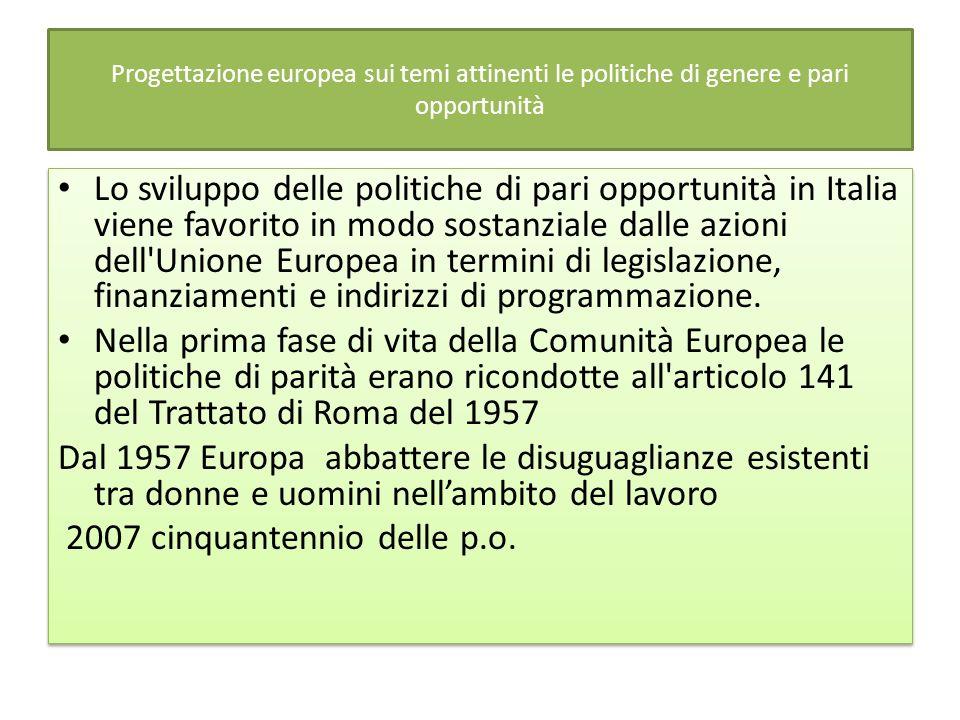 Progettazione europea sui temi attinenti le politiche di genere e pari opportunità Lo sviluppo delle politiche di pari opportunità in Italia viene favorito in modo sostanziale dalle azioni dell Unione Europea in termini di legislazione, finanziamenti e indirizzi di programmazione.