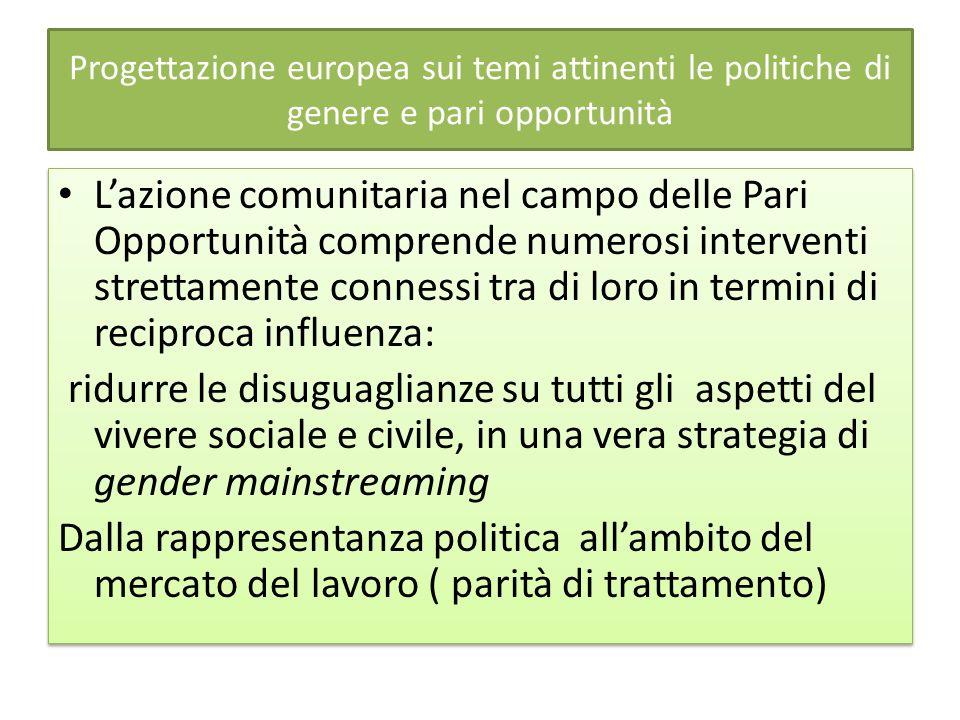 Progettazione europea sui temi attinenti le politiche di genere e pari opportunità Lazione comunitaria nel campo delle Pari Opportunità comprende nume