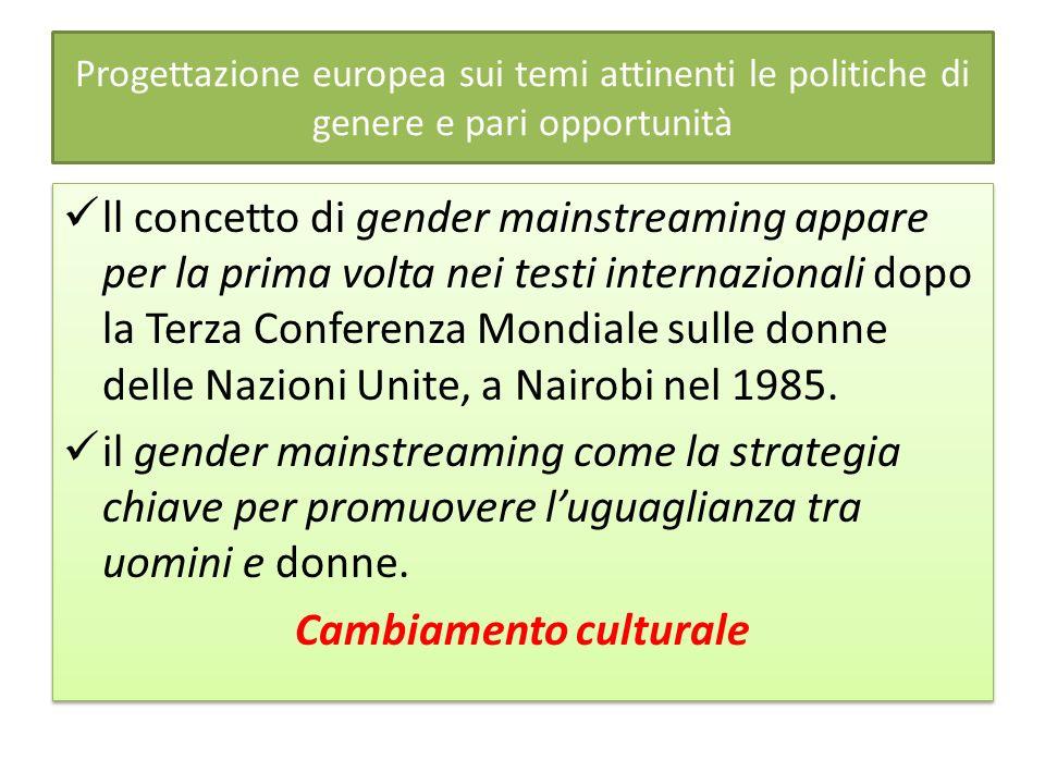Progettazione europea sui temi attinenti le politiche di genere e pari opportunità ll concetto di gender mainstreaming appare per la prima volta nei testi internazionali dopo la Terza Conferenza Mondiale sulle donne delle Nazioni Unite, a Nairobi nel 1985.