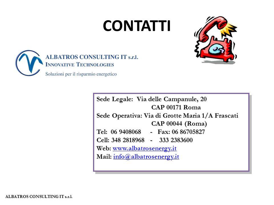 CONTATTI Sede Legale: Via delle Campanule, 20 CAP 00171 Roma Sede Operativa: Via di Grotte Maria 1/A Frascati CAP 00044 (Roma) Tel: 06 9408068 - Fax: 06 86705827 Cell: 348 2818968 - 333 2383600 Web: Web: www.albatrosenergy.itwww.albatrosenergy.it Mail: Mail: info@albatrosenergy.itinfo@albatrosenergy.it Sede Legale: Via delle Campanule, 20 CAP 00171 Roma Sede Operativa: Via di Grotte Maria 1/A Frascati CAP 00044 (Roma) Tel: 06 9408068 - Fax: 06 86705827 Cell: 348 2818968 - 333 2383600 Web: Web: www.albatrosenergy.itwww.albatrosenergy.it Mail: Mail: info@albatrosenergy.itinfo@albatrosenergy.it ALBATROS CONSULTING IT s.r.l.