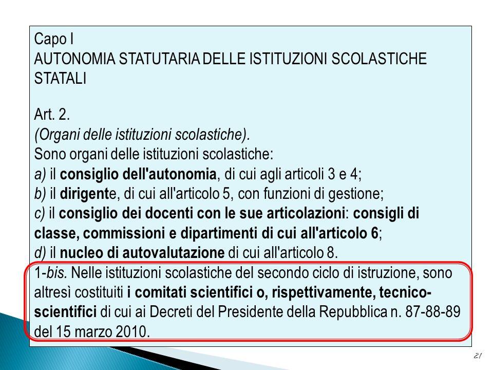 21 Capo I AUTONOMIA STATUTARIA DELLE ISTITUZIONI SCOLASTICHE STATALI Art.