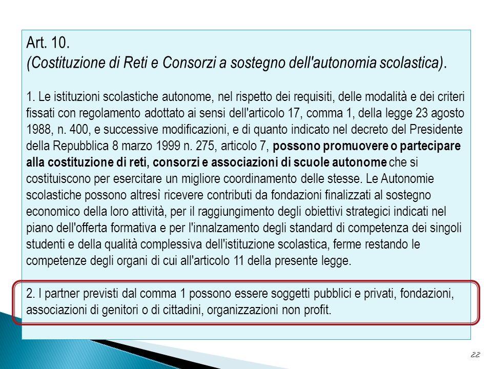 22 Art.10. (Costituzione di Reti e Consorzi a sostegno dell autonomia scolastica).