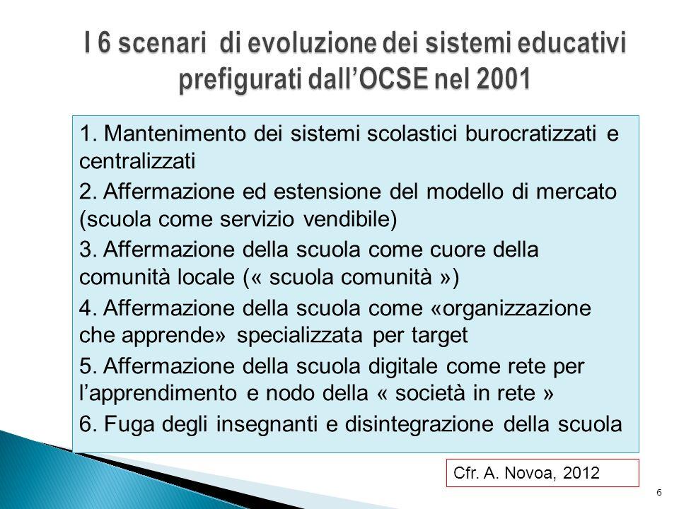1.Mantenimento dei sistemi scolastici burocratizzati e centralizzati 2.