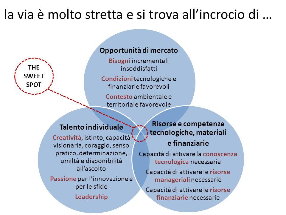 Opportunità di mercato Bisogni incrementali insoddisfatti Condizioni tecnologiche e finanziarie favorevoli Contesto ambientale e territoriale favorevo