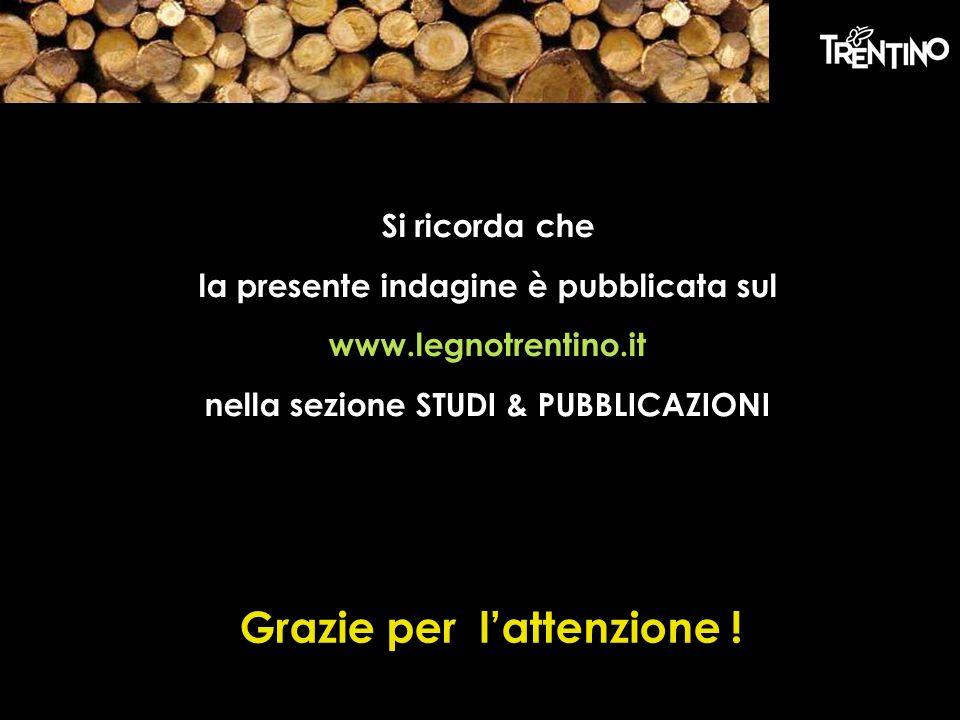 Si ricorda che la presente indagine è pubblicata sul www.legnotrentino.it nella sezione STUDI & PUBBLICAZIONI Grazie per lattenzione !