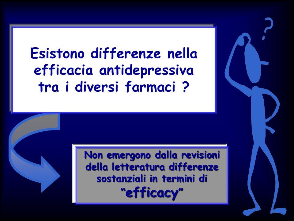 Esistono differenze nella efficacia antidepressiva tra i diversi farmaci ? Non emergono dalla revisioni della letteratura differenze sostanziali in te