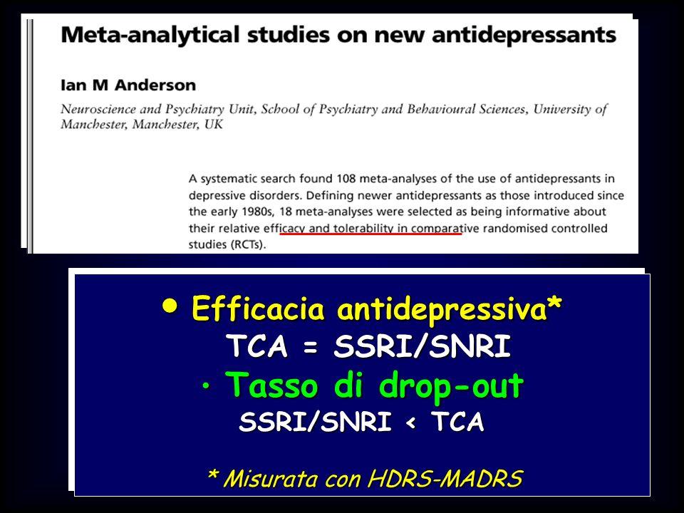 British Medical Journal 2001 Efficacia antidepressiva* Efficacia antidepressiva* TCA = SSRI/SNRI TCA = SSRI/SNRI Tasso di drop-out Tasso di drop-out S