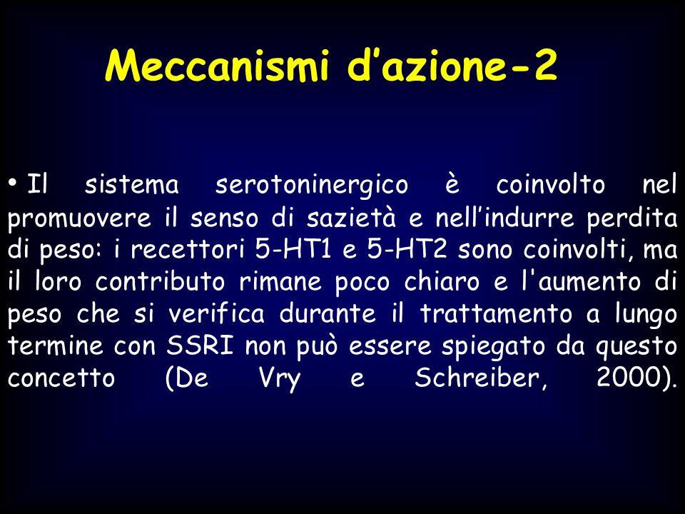 Il sistema serotoninergico è coinvolto nel promuovere il senso di sazietà e nellindurre perdita di peso: i recettori 5-HT1 e 5-HT2 sono coinvolti, ma