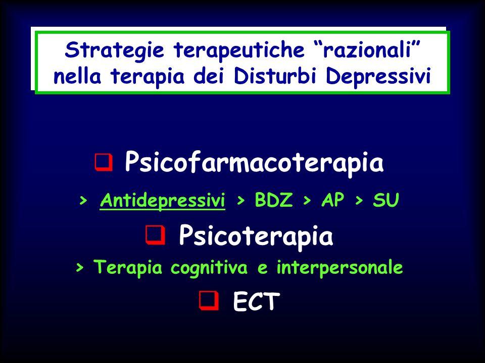 Strategie terapeutiche razionali nella terapia dei Disturbi Depressivi Psicofarmacoterapia > Antidepressivi > BDZ > AP > SU Psicoterapia > Terapia cog