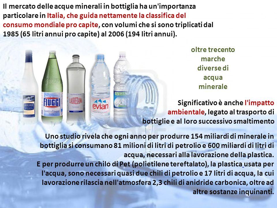Si tratta inoltre di un mercato derivante da un bisogno indotto , sostenuto dall incessante pubblicità, che conferisce proprietà quasi miracolose alla costosissima acqua imbottigliata.