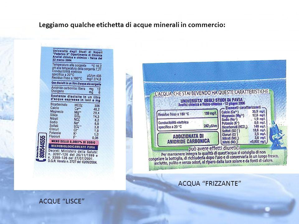 Leggiamo qualche etichetta di acque minerali in commercio: ACQUE LISCE ACQUA FRIZZANTE