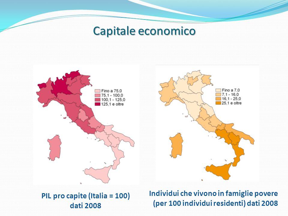 PIL pro capite (Italia = 100) dati 2008 Individui che vivono in famiglie povere (per 100 individui residenti) dati 2008 Capitale economico