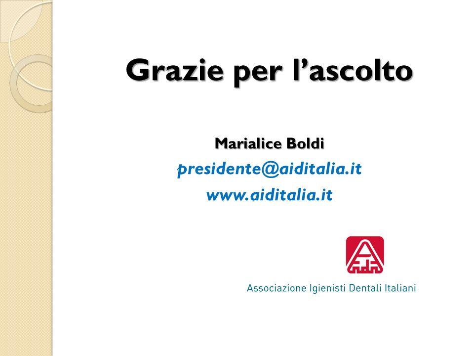 Grazie per lascolto Marialice Boldi presidente@aiditalia.it www.aiditalia.it