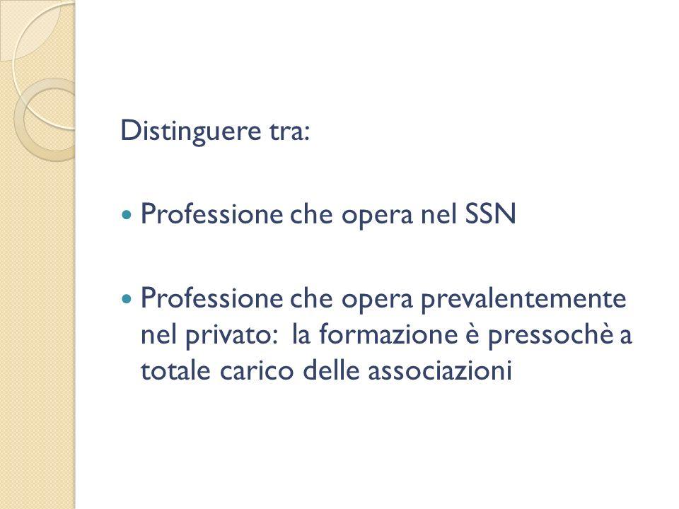 Distinguere tra: Professione che opera nel SSN Professione che opera prevalentemente nel privato: la formazione è pressochè a totale carico delle associazioni