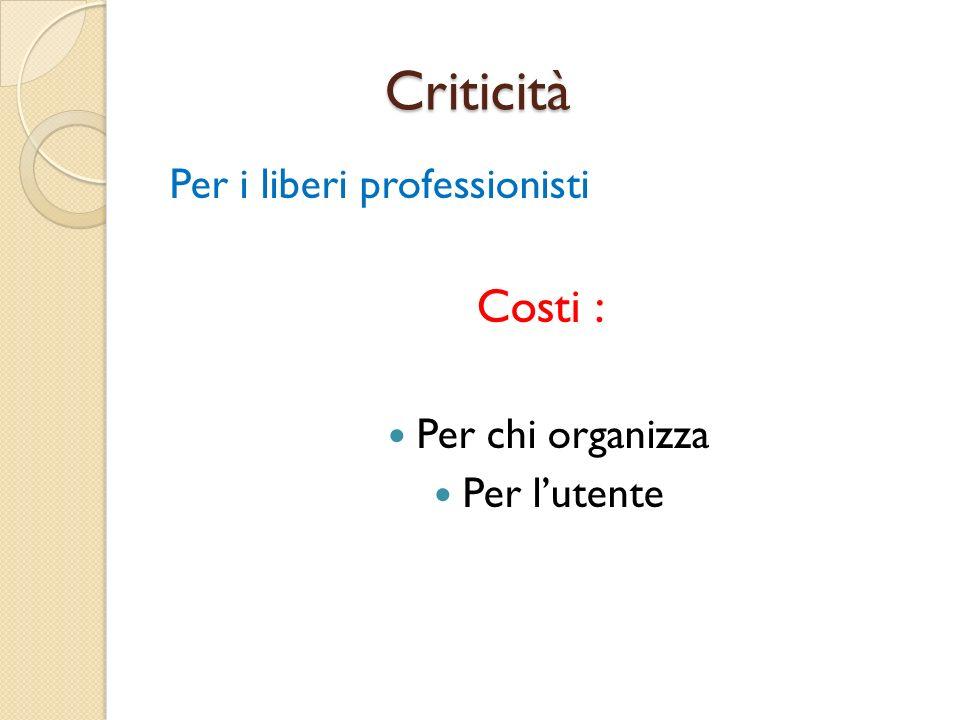 Criticità Criticità Per i liberi professionisti Costi : Per chi organizza Per lutente