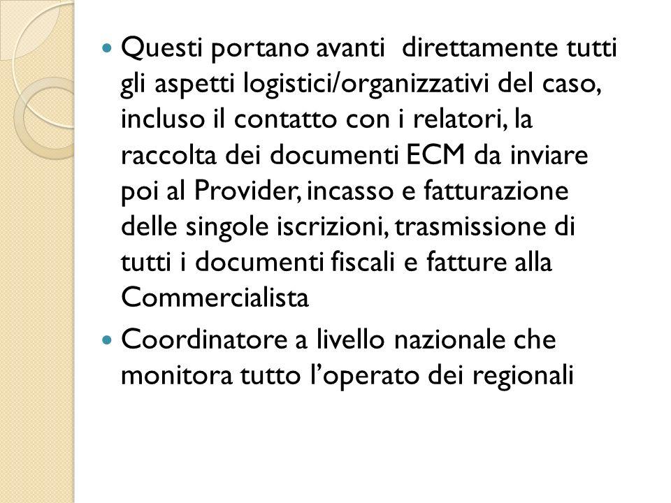 Questi portano avanti direttamente tutti gli aspetti logistici/organizzativi del caso, incluso il contatto con i relatori, la raccolta dei documenti E