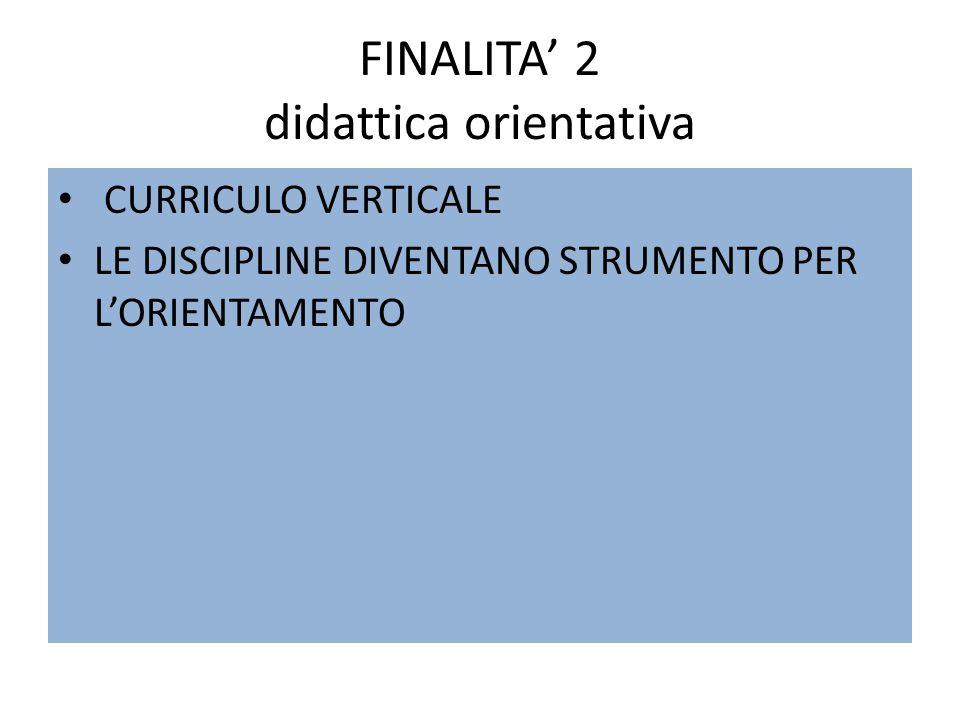 FINALITA 2 didattica orientativa CURRICULO VERTICALE LE DISCIPLINE DIVENTANO STRUMENTO PER LORIENTAMENTO
