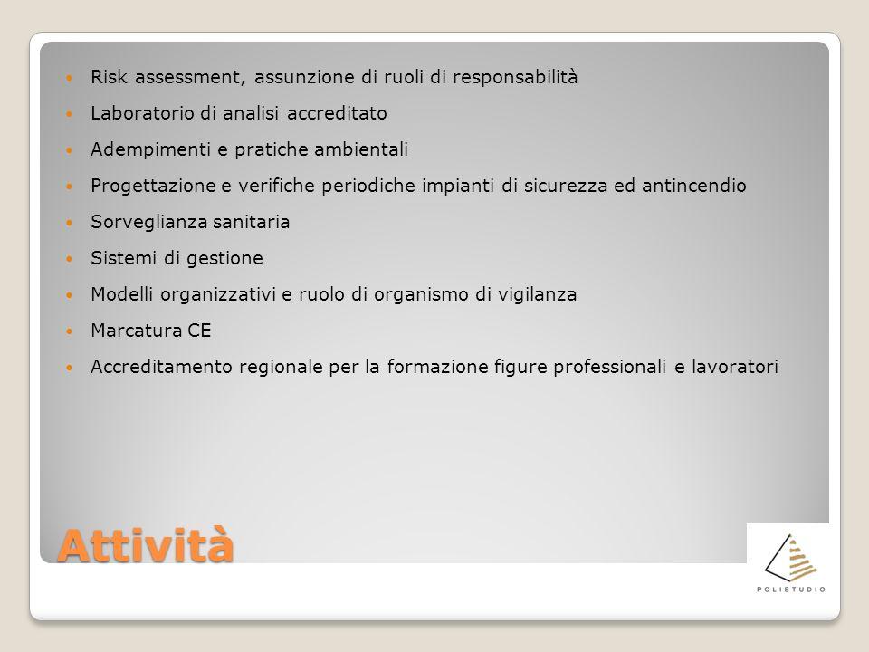 Attività Risk assessment, assunzione di ruoli di responsabilità Laboratorio di analisi accreditato Adempimenti e pratiche ambientali Progettazione e v