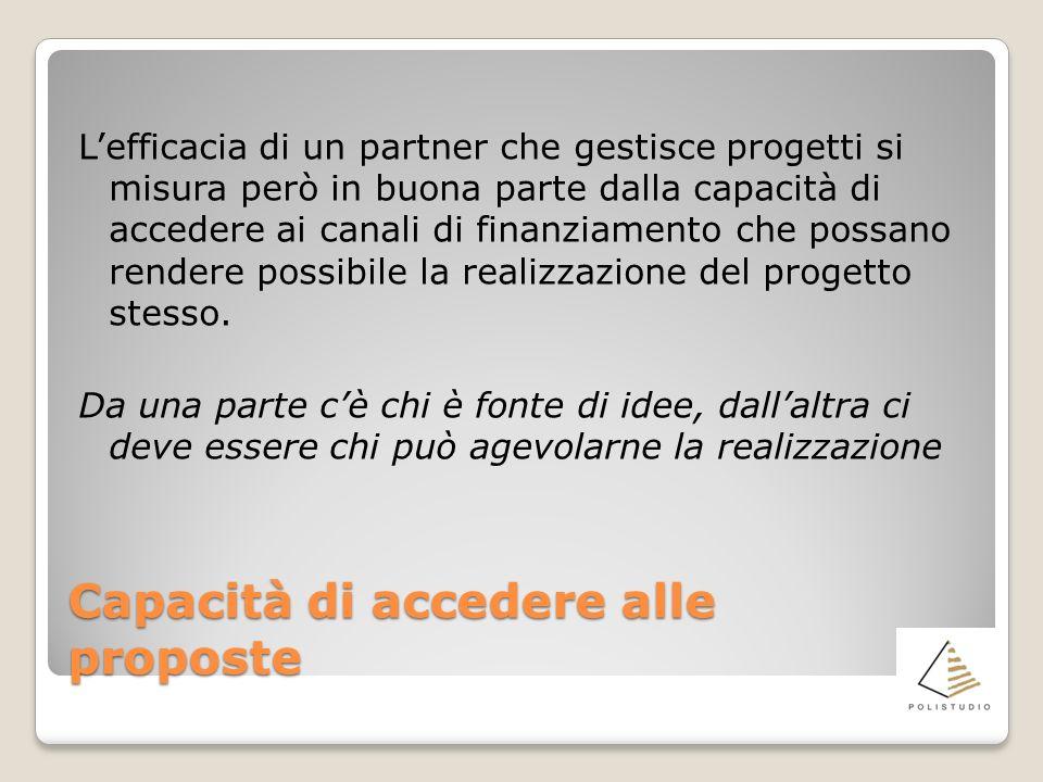 Capacità di accedere alle proposte Lefficacia di un partner che gestisce progetti si misura però in buona parte dalla capacità di accedere ai canali d