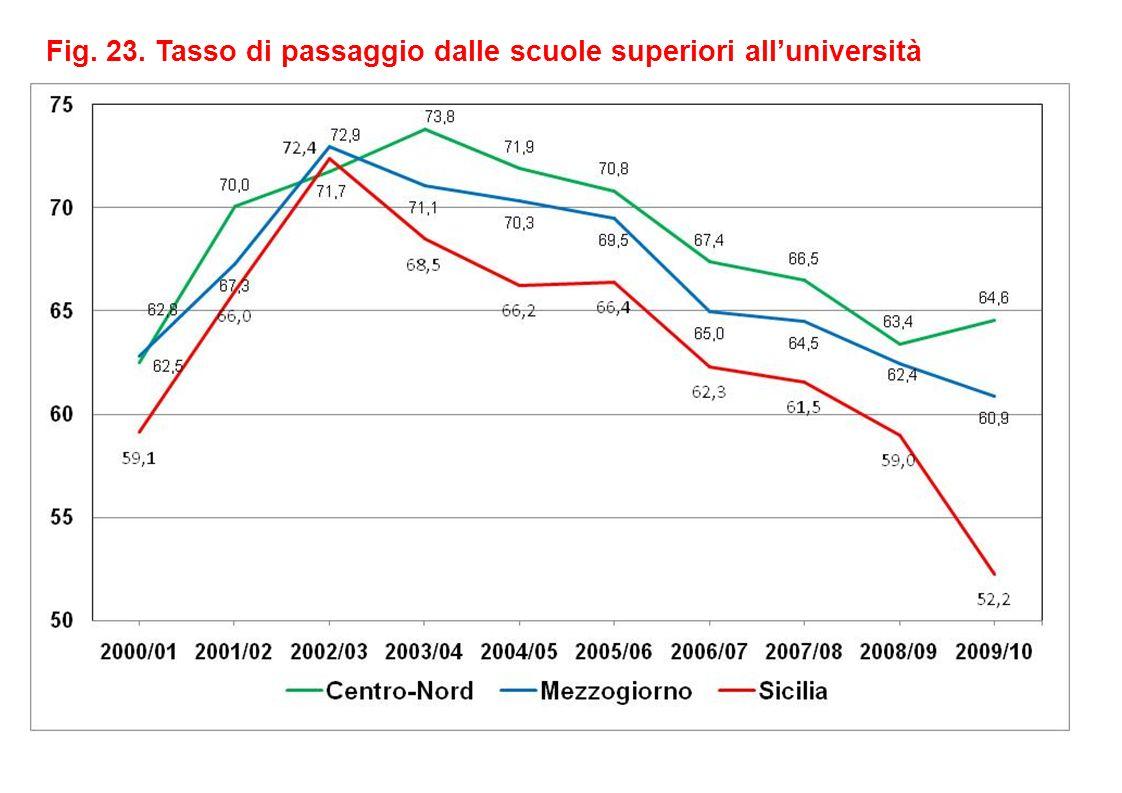 Fig. 23. Tasso di passaggio dalle scuole superiori alluniversità