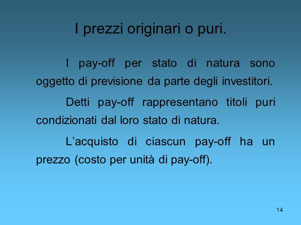 14 I prezzi originari o puri. I pay-off per stato di natura sono oggetto di previsione da parte degli investitori. Detti pay-off rappresentano titoli