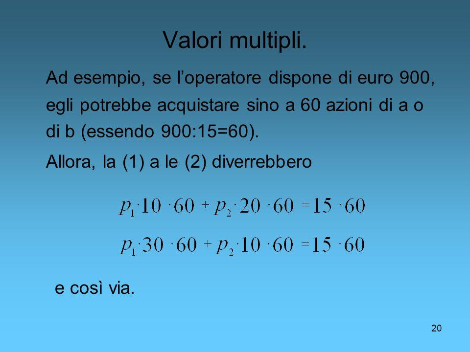 20 Valori multipli. Ad esempio, se loperatore dispone di euro 900, egli potrebbe acquistare sino a 60 azioni di a o di b (essendo 900:15=60). Allora,