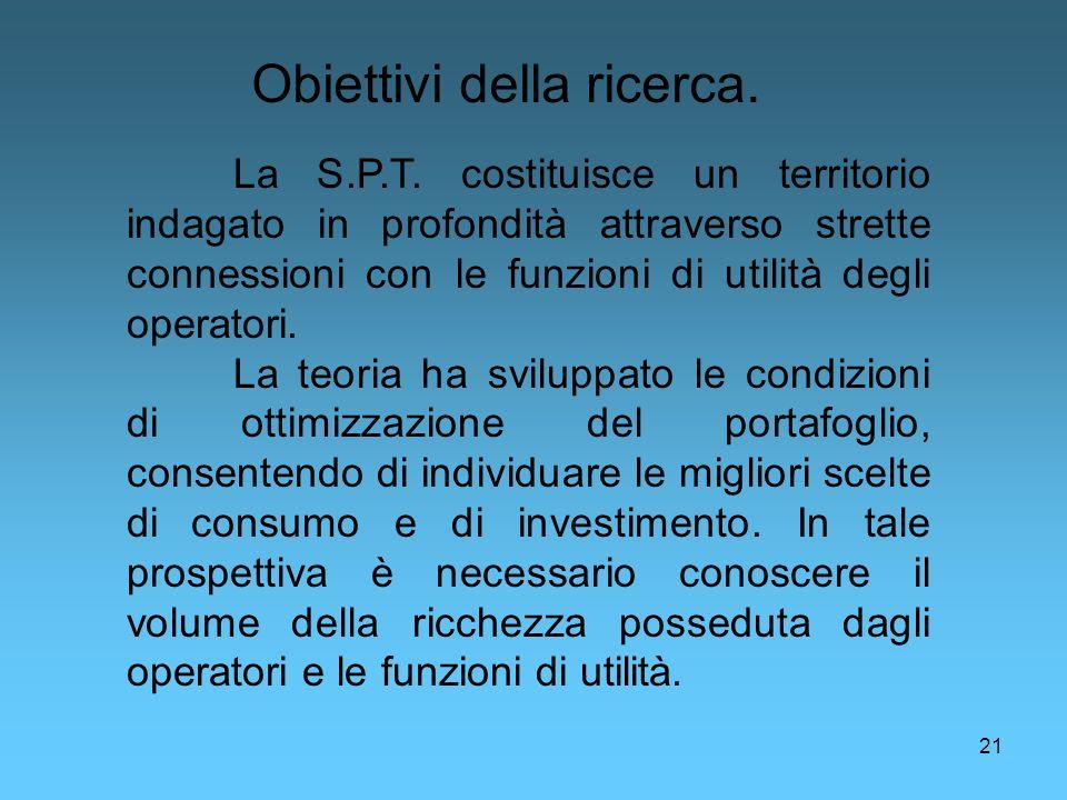 21 Obiettivi della ricerca. La S.P.T. costituisce un territorio indagato in profondità attraverso strette connessioni con le funzioni di utilità degli