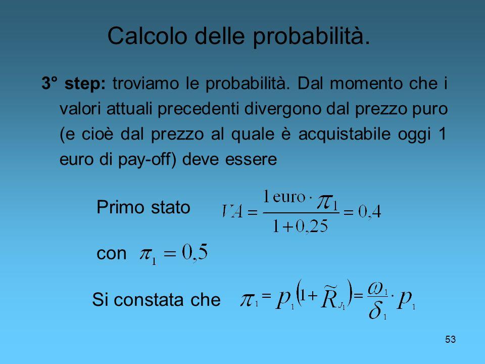 53 3° step: troviamo le probabilità. Dal momento che i valori attuali precedenti divergono dal prezzo puro (e cioè dal prezzo al quale è acquistabile