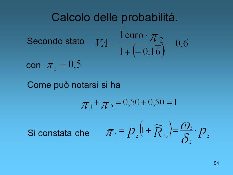 54 Secondo stato Come può notarsi si ha con Calcolo delle probabilità. Si constata che